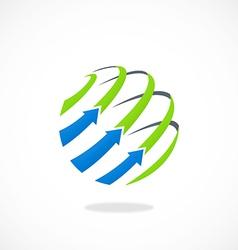 globe arrow business sphere line logo vector image