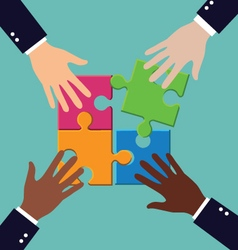 Group of business people assembling puzzle with vector image vector image