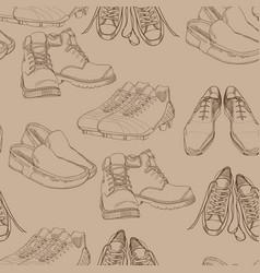 hand drawn seamles pattern men footwear casual vector image vector image