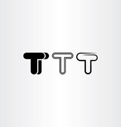 letter t black icon set elements design vector image vector image