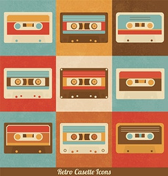 Retro Cassette Icons vector image