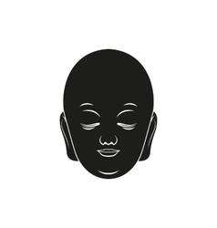 Simple black buddha face or head style icon vector