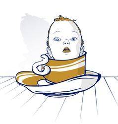 baby child head on coffee cup vector image vector image