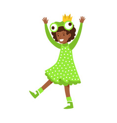 cute little girl dressed as a frog colorful vector image