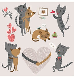 Enamored cats vector