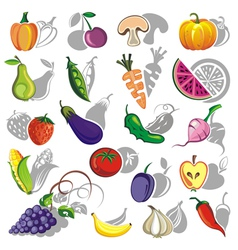 Fruits and vegetables collection vector image vector image