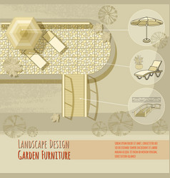 garden design lounge chairs bridge umbrella vector image vector image