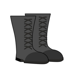 military boots black isolated army shoes on white vector image vector image
