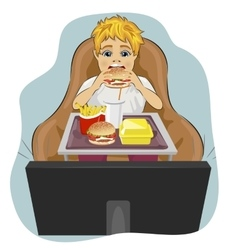 obese fat boy eating hamburger and watching tv vector image