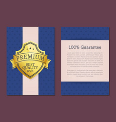 100 guarantee premium quality exclusive choice vector image