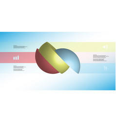 3d infographic template with ball sliced to three vector image