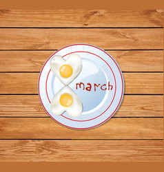 8 shaped omelette on plate with ketchup isolated vector image