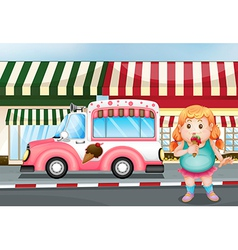 A fat young girl eating icecream vector