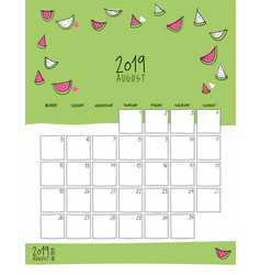 august 2019 wall calendar doodle style vector image