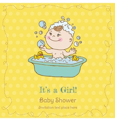 Baby Girl Shower and Arrival Card vector