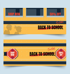 back to school bus part banners vector image