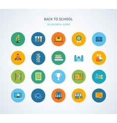 Back to school flat icons design vector