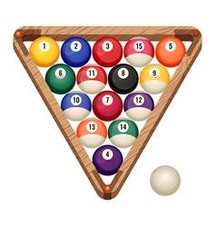Billiard balls in wooden rack vector