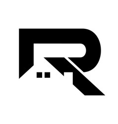 black and white initial r real estate logo design vector image