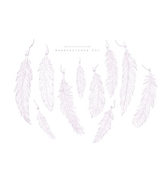 Boho Style Feathers Hand Drawn Realistic Sketch vector