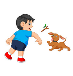 boy throws a stick to his dog vector image
