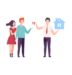 Broker or real estate agent giving keys from new vector