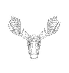 bull moose head doodle vector image