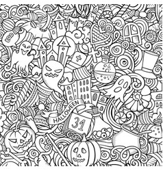 cartoon cute doodles hand drawn halloween seamless vector image