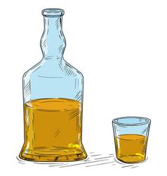 Cartoon drawing whiskey or hard liquor bottle vector