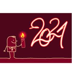 Cartoon man drawing a burning fire 2021 sign vector