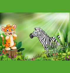 Cartoon of the nature scene with a baby tiger stan vector