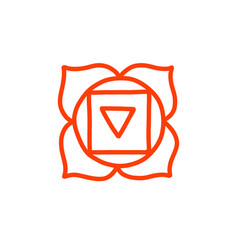 Chakra muladhara doodle icon color vector