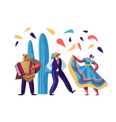 cinco de mayo festival mexican artists band man vector image