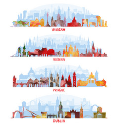 Cityscapes of warsaw vienna prague dublin vector