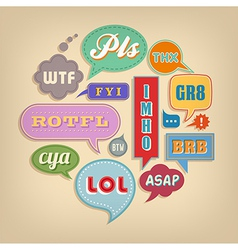 Comic Speech Bubbles Set with popular acronyms vector