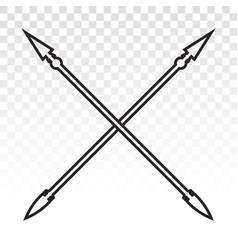 Crossed for medieval spear lance weapon line art vector