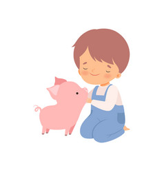 Cute boy petting piglet kid interacting with vector