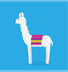 cute cartoon llama drawing on bright background vector image