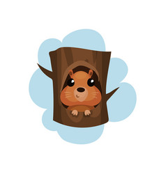 Cute hamster sitting in hollow of tree hollowed vector