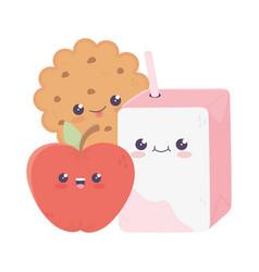 Cute juice box cookie and apple kawaii cartoon vector