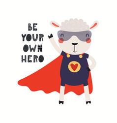 Cute sheep superhero vector