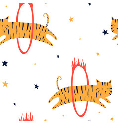 cute tiger seamless pattern vector image