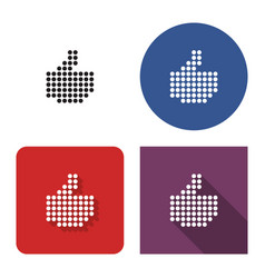 dotted icon fist with raised thumb in four vector image
