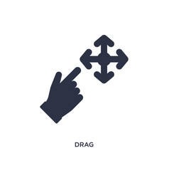 Drag icon on white background simple element from vector