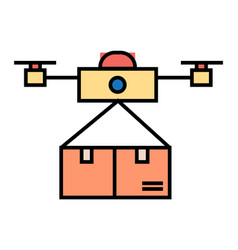 drone delivering carton box innovative shipment vector image