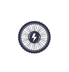 electric bike wheel icon on white vector image