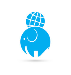 elephant and the globe vector image