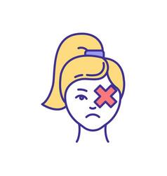 Eye trauma rgb color icon vector