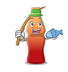 Fishing cola bottle jelly candy mascot cartoon vector