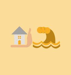 Flat icon on stylish background flood house vector